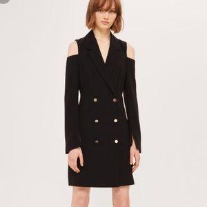 Topshop blazer button down dress black